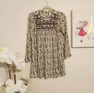 Zara Girls Paisley Print Long Sleeved Dress